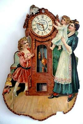 Antique Advertising DIE-CUT Jeweler Grandfather clock Kitten Doll Calendar Back