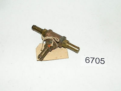 """Vintage Brass 1/4 Tee With A 3 Barbed Fitting For 3/8 Hose 7/16"""" OD"""