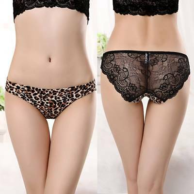 Women Sexy Leopard Lace Panties Seamless Cotton Breathable Panty Hollow Briefs
