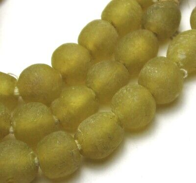 """21"""" Strand Of Beautiful Yellow Ghana Recycled Glass Beads African Trade"""