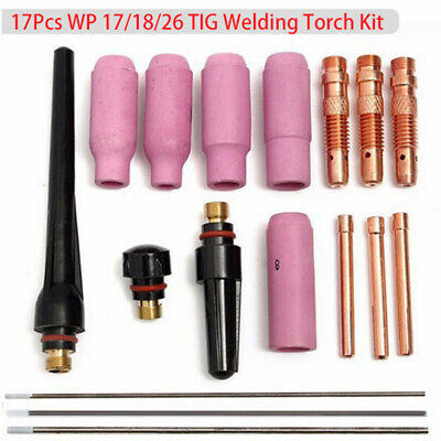 17x WP17 18 26 TIG Welding Torch Cup Collet Body Nozzle Tungsten Gas Lens Kit