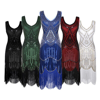 AU Women 1920's V Neck Flapper Dress Beaded Sequins Fringe Vintage Gatsby Dress