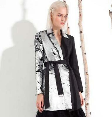 Euro Fashion Womens Bling Sequins Trench Coat Lapel Collar Long Jackets