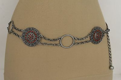 Women Vintage Antique Silver Metal Chain Ethnic Fashion Belt Brown Flower S M L