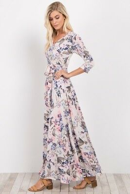 Pink Blush Maternity Nursing Friendly Ivory Floral Sash Tie Maxi Dress BWNT S
