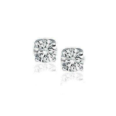 14k White Gold Diamond Four Prong Stud Earrings (1 cttw)