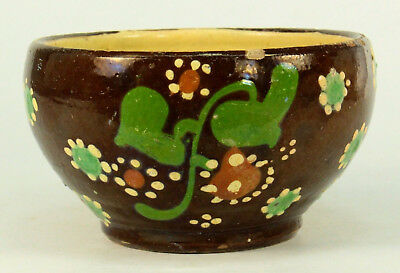 Antique Lt.1800's German Salt Glazed Earthenware Tea Cup Slipware Two-tone Dots