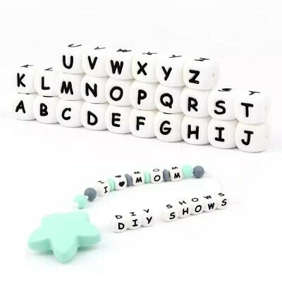 5PC Letter Silicone Beads Baby Teether Bead Chewing Teething Necklace BPA Free
