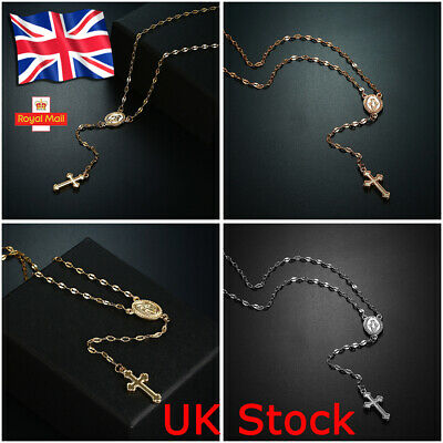 Stainless Steel Beaded Rosary Virgin Mary With Jesus Cross Necklace Jewelry UK