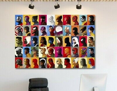 Marvel Super Hero Characters Poster Canvas Print Art Home Decor Wall Art