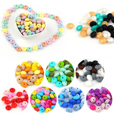 Food Grade Lentil Silicone Beads Teether Baby Teething DIY Child Toy Necklace