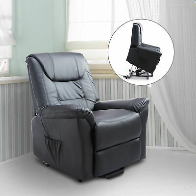 Leathered Electric Lift Chair Reclining Seat Elder People Black