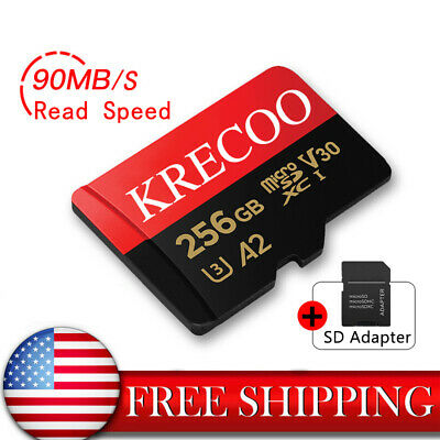 KRECOO Memory Card 90MBS Micro SD SDHC 64GB 128GB 256GB Class 10 with Adapter