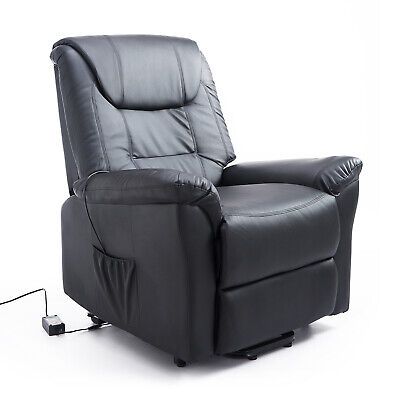 Leathered Electric Lift Chair Power Recliner Elder People w/ Remote Black