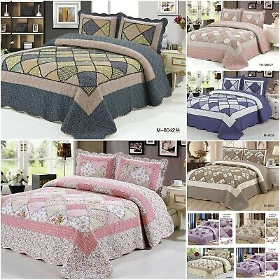 Patchwork Bedspread Quilt Comfort bed Throw Vintage Set Double/King size 3 Piece