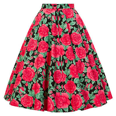 Hell Bunny Darcy Pink Rose Flower Print Vintage Retro 1950s Swing Flared Skirt