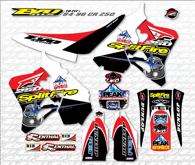 Honda CR 250 1995-1996 Full Decals Kit & Gripper Seat Cover Stickers Graphics