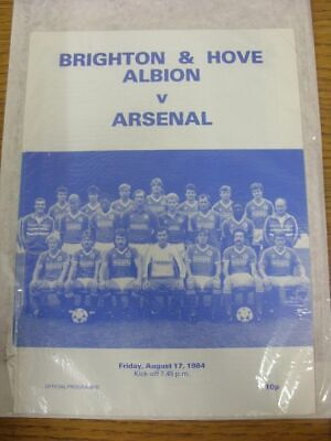 17/08/1984 Brighton And Hove Albion v Arsenal [Friendly] (Four Pages). Thank you