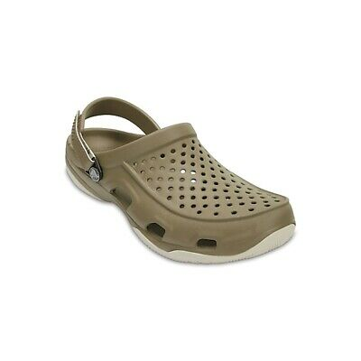 Crocs 203981 SWIFTWATER DECK CLOG Mens Summer Sandals Clogs Green Khaki Stucco