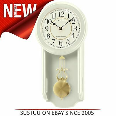 Seiko QXH063C Westminster/Whittington Dual Chime Wall Clock With Pendulam│Cream│