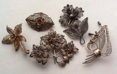 Job Lot Of 5 Vintage Antique Silver Filigree Brooches
