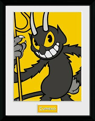Cuphead The Devil Yellow Framed Official Print New