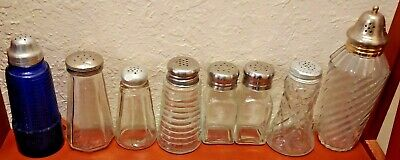 Eight (8) Antique / Vintage Sugar/Salt Muffineer Shakers Cobalt Blue & Clear