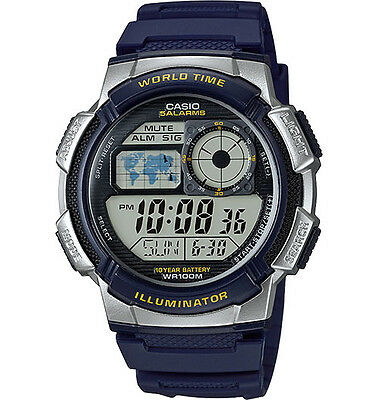 Casio AE1000W-2AV,  Digital Men's Watch, 100M, 5 Alarms, Chronograph, Resin