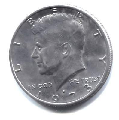 AU Kennedy 1973 D Half Dollar Coin - 50 Cents - Denver Mint