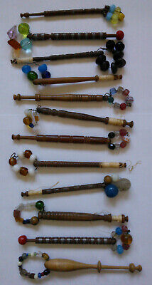 12 Early Victorian Turned Wood Lace Making Bobbins with Original Glass Beads