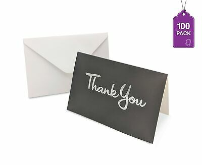 Thank You Cards 100 Cards With Envelopes Gray With Silver Hot Stamped Thank You