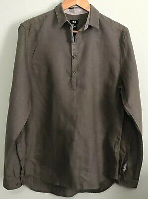 ccfe117d H&M Divided Mens Olive Green Linen 1/4 Button Henley Long Sleeve Shirt Size  S
