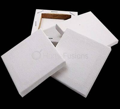 SET OF 4 HILLINTON ARTISTS SQUARE BLANK CANVAS WHITE STRETCHED CANVAS 20 x 20CM