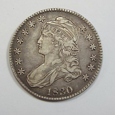 1830 Capped Bust/Lettered Edge Half Dollar EXTRA FINE Silver 50-Cents