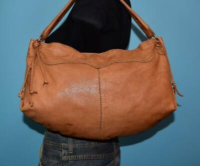 LUCKY BRAND Large Brown Leather Hobo Boho Shopper Tote Purse Shoulder Bag 70f50a3bcd231