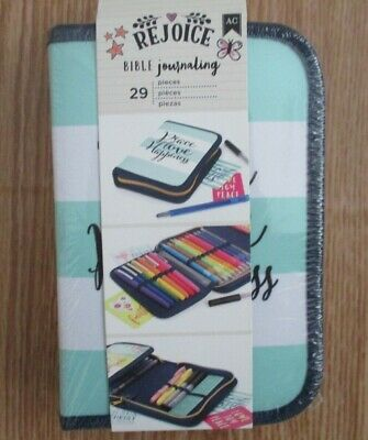 AMERICAN CRAFTS 29 Piece REJOICE Bible Journaling Teal White Storage Pouch Case