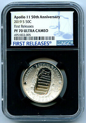 2019 S 50C Apollo 11 Ngc Pf70 Proof 50Th Anniversary Half Dollar First Releases