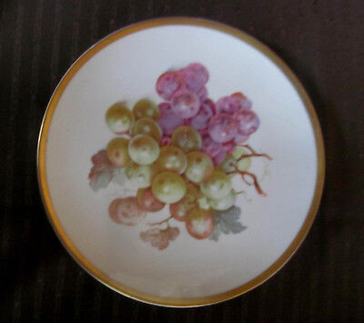 PURPLE GRAPES VINTAGE Fruit Plate w/Gold Edge Germany~E & R Importers
