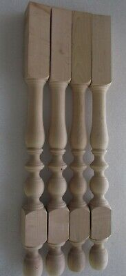 "NEW UNFINISHED SOLID MAPLE TABLE FURNITURE LEGS  28 3/4"" high SET of  4"