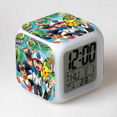2x New Pokemon Cube 7 Color Changing LED Night Light Alarm Clock Watch Toy Gift