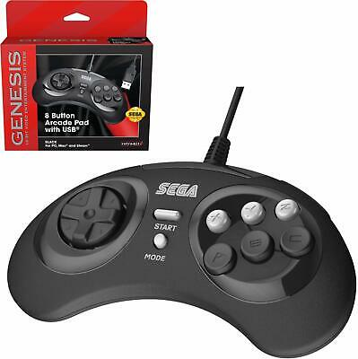 Retro-Bit Official Sega Genesis 8-Button Arcade Pad USB Controller for PC/Mac