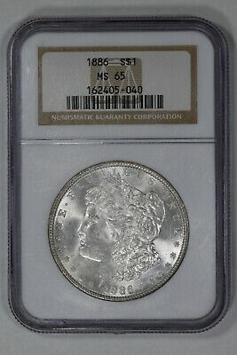 1886 Morgan Silver Dollar $1 Ngc Certified Ms 65 Mint State (040)