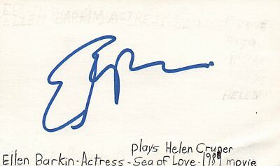 Movies Autographs-original Ellen Barkin Actress Helen In Sea Of Love Movie Autographed Signed Index Card