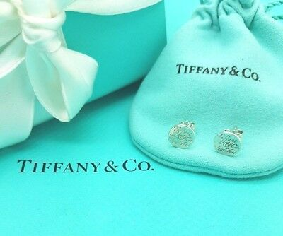 Authentic Tiffany & Co Sterling Silver Notes New York Circle Stud Earrings