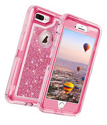 bc6b3af769 Coolden iPhone 8 Plus Case, Heavy Duty Shockproof 7 Glitter Floating Bling  Shiny