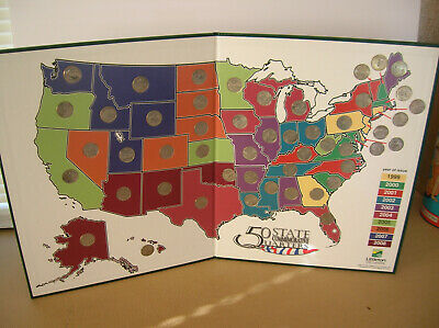 1999-2008 Complete Set 50 Commemorative US State Quarters with Map Folder