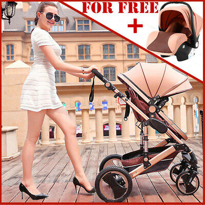Luxury 3 In 1 Baby Stroller Pushchair W/ Infant Basket Car Seat Foldable Buggy