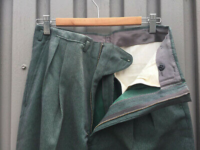 ORIGINAL VINTAGE DEADSTOCK 1940S 50s MEN'S GREEN WOOL PANTS  METAL ZIP W30 x 29