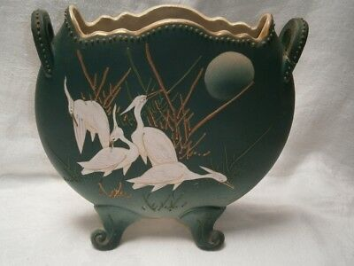Antique Japanese Vase With Crane Bird & Moon Handpainted Gold Embossed Design.