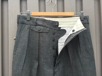 ORIGINAL VINTAGE DEADSTOCK 1940S MEN'S DEEP GREY PANTS BUTTON FLY  W32 x 30